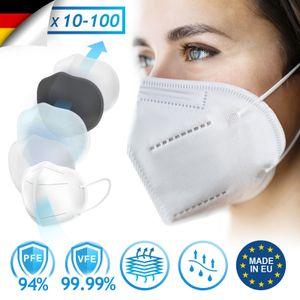 Virshields® FFP2 Mundschutz Maske - PFE 94%, VFE 99.99%, CE 1437 , EN 149:2001+A1:2009, 5 Lagen, 5-100 Stück, Filtrierend,  EU, Weiß - Halbmaske, Atemschutzmaske, Schutzmaske