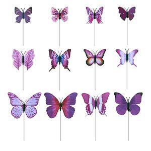 12er Gartenstecker Schmetterlinge auf Stöcken Gartenstecker für Garten Balkon Deko Farbe Lila