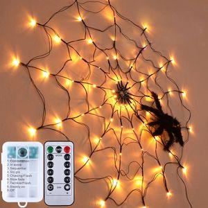 Spinnennetz Licht LED Halloween Warmweiß Lichternetz Batteriebetrieben Wasserdicht für Home Party Halloween Deko