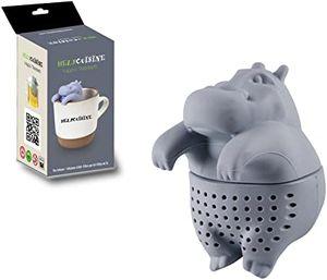 HelpCuisine® teefilter Tea Infuser teekugel in Nilpferd-Form, Modernes Design aus hochwertigem Silikon 100% BPA frei, 1St. in Grau