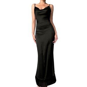 Frauen ärmelloses Spaghettibügel mit V-Ausschnitt, dünnes, figurbetontes, langes Abendkleid