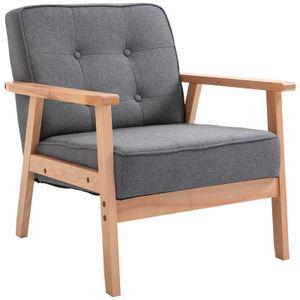 HOMCOM Einzelsofa Loungesessel Polsterstuhl mit Armlehnen Holzrahmen Leinen Grau 64,5 x 70 x 70 cm