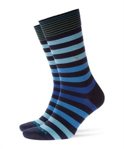 Burlington Herren Socken, BLACKPOOL - Blockstreifen, Clip, One Size, Größe 40-46 Marine/Blau