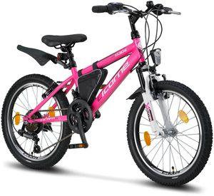 Licorne Bike Guide Premium Mountainbike in 20, 24 und 26 Zoll - Fahrrad für Mädchen, Jungen, Herren und Damen - Shimano 21 Gang-Schaltung, Farbe:Rosa/Weiß, Zoll:20