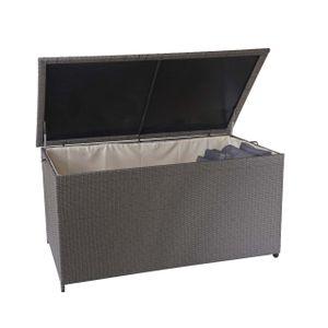 Poly-Rattan Kissenbox HWC-D88, Gartentruhe Auflagenbox Truhe  Premium grau, 80x160x94cm 950l