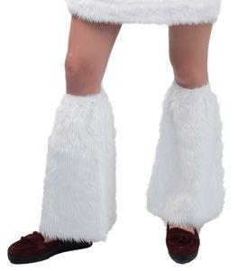 Kostüm Zubehör Plüsch Stulpen weiß Schlag Karneval Fasching