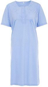 Lucky Nachthemd Damen Kurzarm Punkte mit Stickerei, Größe:XL, Farbe:Blau