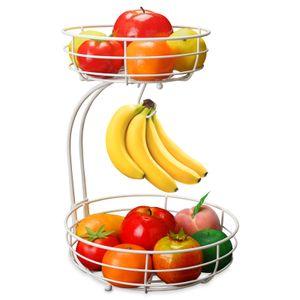 2-stufiger Obstkorb Bananenhalter, Obstschale Metall fš¹r mehr Platz auf der Arbeitsplatte, Etageren mit Obstschalen - dekorativer Obstkorb (Weiß)