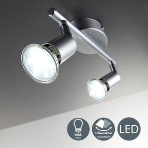 LED Deckenleuchte Spot schwenkbar 2-flammig inkl. 3W Leuchtmittel GU10 Warmweiß Metall/Titanfarbig B.K.Licht
