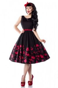 Vintage Rockabilly Petticoat Kleid in schwarz/rot Größe S