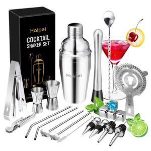 Haipei Cocktail Shaker Cocktail Set Geschenk, 22-Teiliges Cocktailshaker Bar Set Bar Zubehör Cocktailset Groß 550 Ml Barkeeper mit Edelstahlständer Cocktails