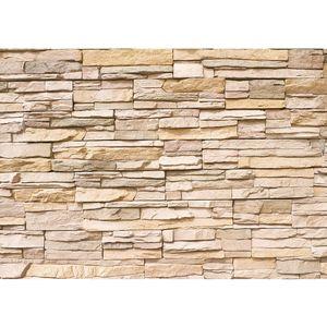 Fototapete Asian Stone Wall Steinwand Tapete Steinoptik Steine Wand 3D Steintapete beige | no. 1, Größe:350x245 cm, Material:Fototapete Vlies - PREMIUM PLUS