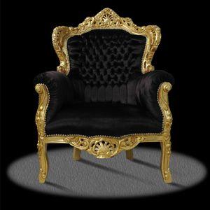 Barock Sessel Barocksessel Schwarz Gold Stoff Luxus Esszimmer Wohnzimmer Relaxsessel Retro TOP