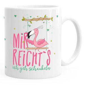 Kaffee-Tasse Flamingo Mir reichts ich geh schaukeln Sprüche Spruch MoonWorks® weiß-pink unisize
