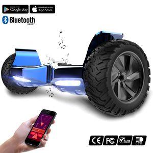 "MARKBOARD-Challenger Basic 8,5"" Hoverboard Elektroscooter Selbstausgleichender Elektroroller E-Skateboard Elektroroller SUV mit Offroad-Reifen App Funktion Bluetooth chrome blau"