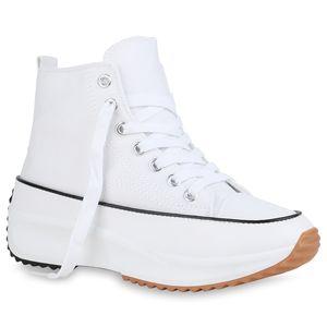 Giralin Damen Sneaker High Schnürer Keilabsatz Profil-Sohle Schnür-Schuhe 836546, Farbe: Weiß, Größe: 38