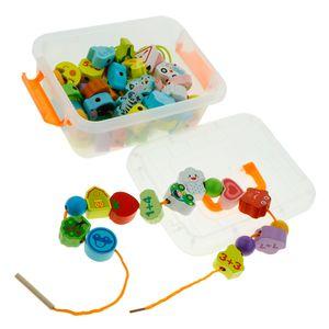Bunte Fädelspiel Pädagogisch Holzspielzeug Für Kinder ab 3 Jahren, Holzperlen in verschieden Farben und Formen Mehrfarbig 65 Blockperlen wie beschrieben