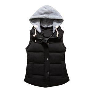 Damenmode Reine Farbe Reißverschluss Baumwolle Weste Weste Kurze Warme Weste Größe:L,Farbe:Schwarz