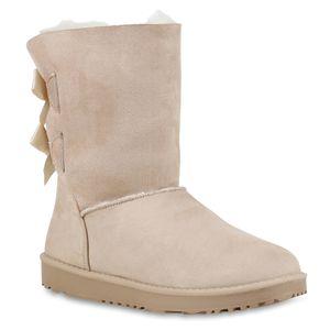 Mytrendshoe Warm Gefütterte Damen Stiefel Boots Schlupfstiefel Schuhe 814410, Farbe: Creme, Größe: 38