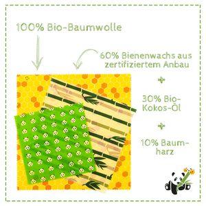 PANDOO - Bienenwachstücher Starter Set (3 Größen) - Ersetzt Plastikfolie