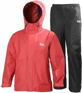 Helly Hansen Regen Kombination Jacke und Hose wasserdichte Regenkleidung Vollständig verschweißte Nä : 140 Kinder Größe: 140