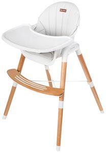 Kinderhochstuhl Mitwachsender Hochstuhl 3-Punkt-Sicherheitsgurte Kinderstuhl Kindersitz zwei Ebenen Fußstütze Weiß