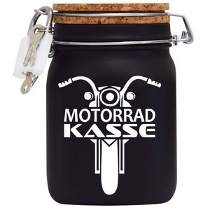 Spardose Geld Geschenk Ideen Motorrad Kasse Schwarz Größe L 1 Liter