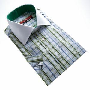 Herren Designer Hemd Kurzarm kariert Slim Fit sommer Herremhemd tailliert , Größe klassische Hemden:37 / S, Farbe Klassische Hemden:Grün