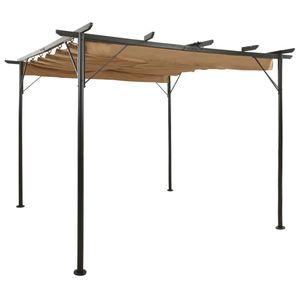 ILoveamber Pergola mit Ausziehbarem Dach Taupe 3x3 m Stahl 180 g/m²