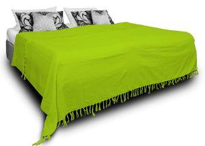Tagesdecke Bettüberwurf 180x220 cm grün Bettdecke Doppelbett Sofa Baumwolle