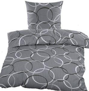Seersucker Bettwäsche 135x200 +80x80 cm, grau, Kreise, bügelfrei, Microfaser, + Waschhandschuh