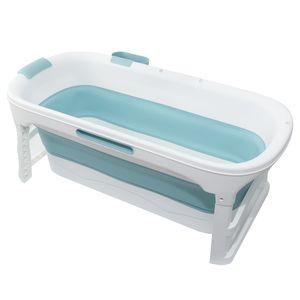 Sunnyme Faltbare Badewanne für Erwachsene Große Kunststoff Folding Badewanne für Dusche 140x63x57.4cm,Blau