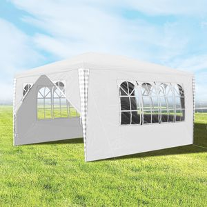 Hengda 3x4m Pavillon, Stabiles Gartenpavillon weiß Partyzelt mit 4 Seitenteile inklusive Zubehör, Material PE-Plane, für Garten, Festival, Party
