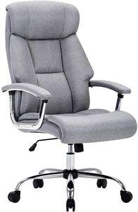 Amoiu Bürostuhl, Drehstuhl, ergonomischer Schreibtischstuhl, Chefsessel mit gepolsterten Armlehnen und Kopfunterstützung, Höheverstellbar 360°Bürodrehstuhl Stoff, Grau