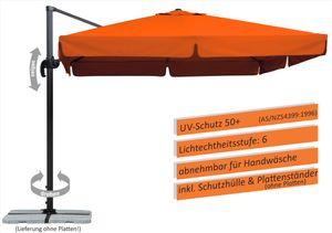 Schneider Ampelschirm RHODOS 300 x 300 cm mit Ständer für Platten, Farbe Terracotta/Orange