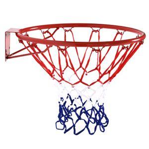 HOMCOM Basketballkorb mit Netz, Basketballnetz, Stahlrohr+Nylon, Rot + Blau + Weiß, ø45 cm
