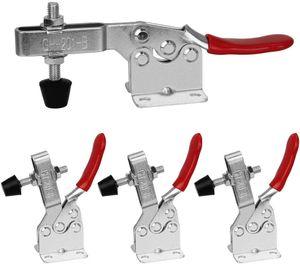 4 Stück Kniehebelspanner Schnellspanner GH-201B 90Kg/198Lbs Fassungsvermögen Horizontal Toggle Clamp Haltekraft Waagrechtspanner Anti-Rutsch Knebelklemme Handwerkzeuge für Schweißen