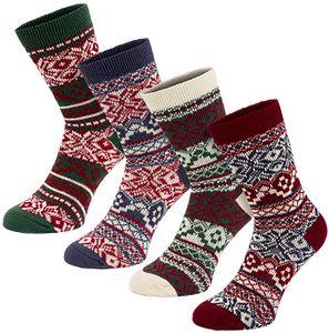 BRUBAKER 4 Paar Damen Norweger Socken Multicolor Pack Gr. 39-42