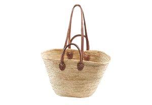 Palmtasche mit Ledergriffen und Lederhenkel