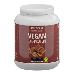 Protein Vegan 1kg - 84,1% pflanzliches Eiweiß - Nutri-Plus Shape & Shake 3k-Proteinpulver - Veganes Eiweißpulver ohne Laktose & Milcheiweiß - Schokolade