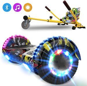 6,5 LED Hoverboard-Bluetooth und 2*350W hip hop mit Hoverseat hip hop,Elektroscooter mit Gokart  Elektro Scooter mit Motorbeleuchtung E-Skateboard Elektroroller mit Hoverkart