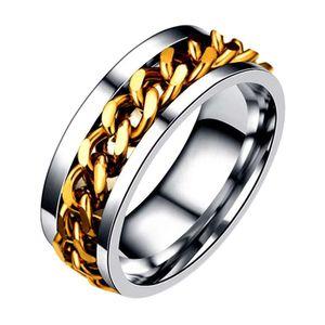 Mllaid Herren Titan Stahl Spinning Fidget Ring Spinner Ring mit 3 Schichten Spinning Creative Pattern Gold-XXXXL XXXXL