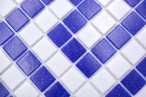 Handmuster Mosaikfliese Bordüre Glas weiß dunkelblau papierverklebt Poolmosaik Schwimmbadmosaik MOSMB-BO16P_m