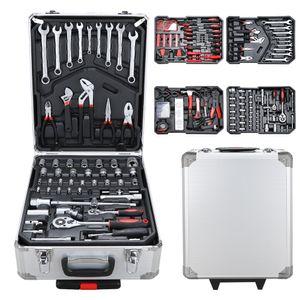 VINGO Werkzeugkoffer 1031 teilig Alu Werkzeugkasten Werkzeugkiste gefuellt Set abschliessbar Werkzeugtasche Werkzeug-Trolley 4 Ebenen Rollkoffer¡