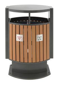 Abfallbehälter für Abfalltrennung draussen Holz Optik (31650422)