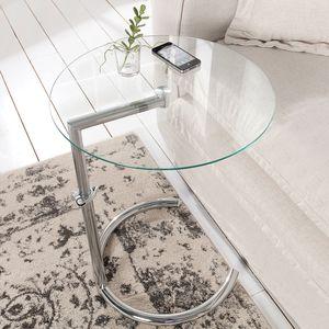 Art Deco Beistelltisch EFFECT 45cm chrom Glas höhenverstellbar Wohnzimmertisch Couchtisch Sofatisch