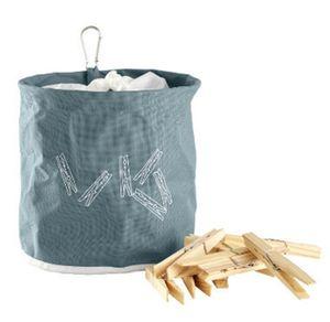 GKA Wäscheklammerbeutel blau mit 10 Wäscheklammern aus Holz Klammern Premium mit Karabiner Haken Klammersack Klammern  Klammerkorb Wäscheklammerkorb