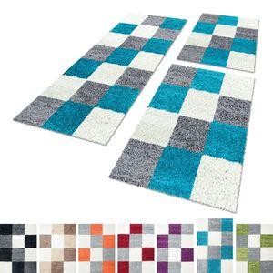 Bettumrandung Teppich Shaggy Schlafzimmer Läuferset Hochflor Langflor 3 Teile, Farbe:Türkis, Bettset:2 mal 60x110 + 1 mal 80x150