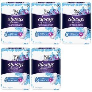 5 x Always Discreet Long Plus Inkontinenz Einlagen 8 Stück