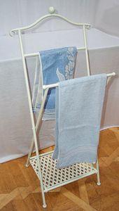 Handtuchhalter klappbar, Shabby, Nostalgie Handtuchständer Eisen Weiß